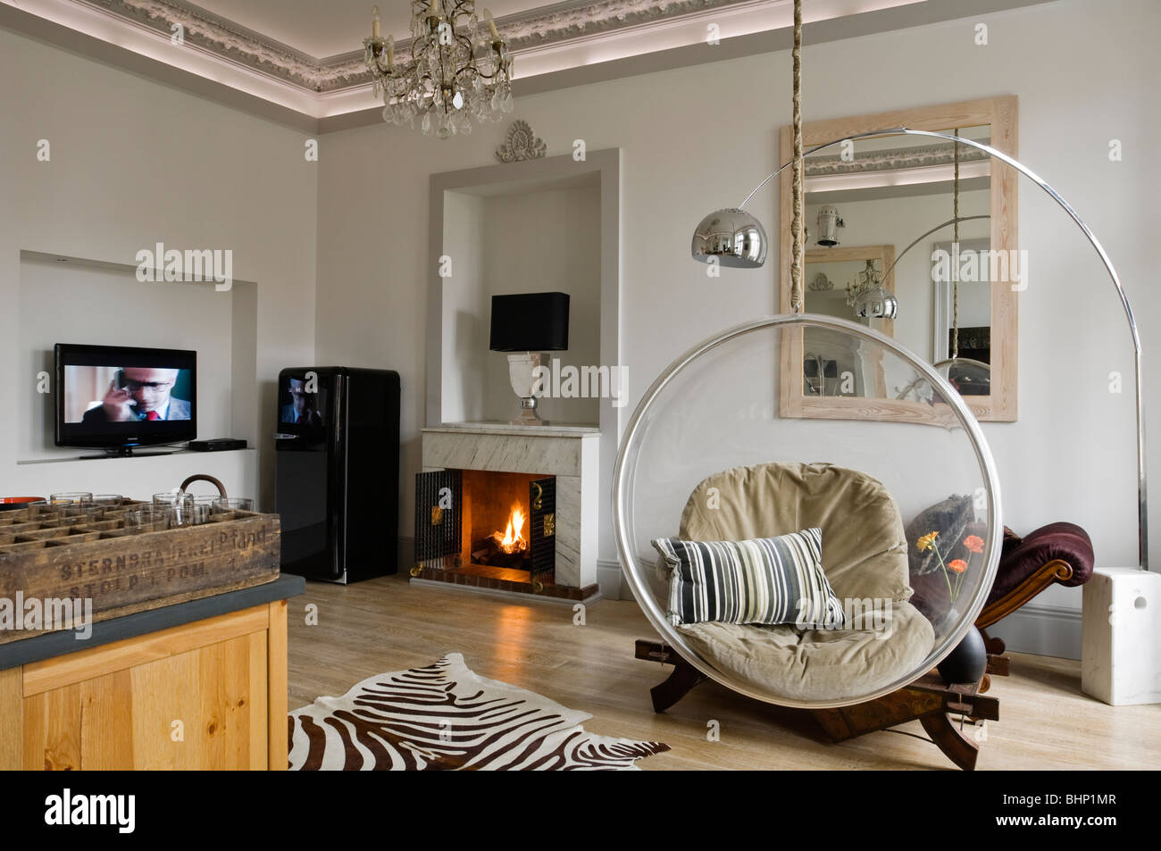 eero aarnio bubble chair in living room with zebra skin rug and stock photo 28143831 alamy. Black Bedroom Furniture Sets. Home Design Ideas