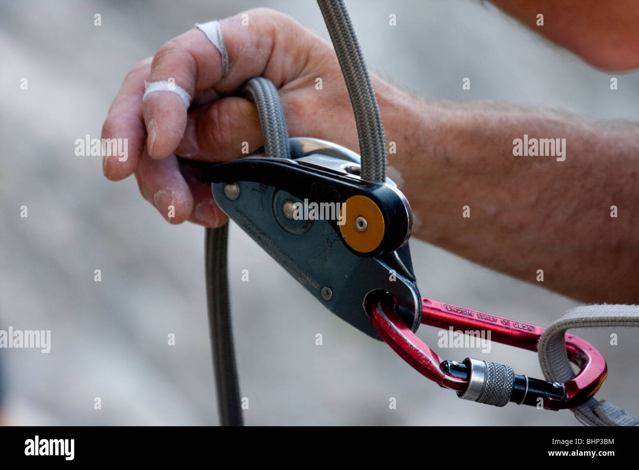 GriGri Climbers belay device and Karabiner used for rockclimbing, Bellus, Spain - Stock Image