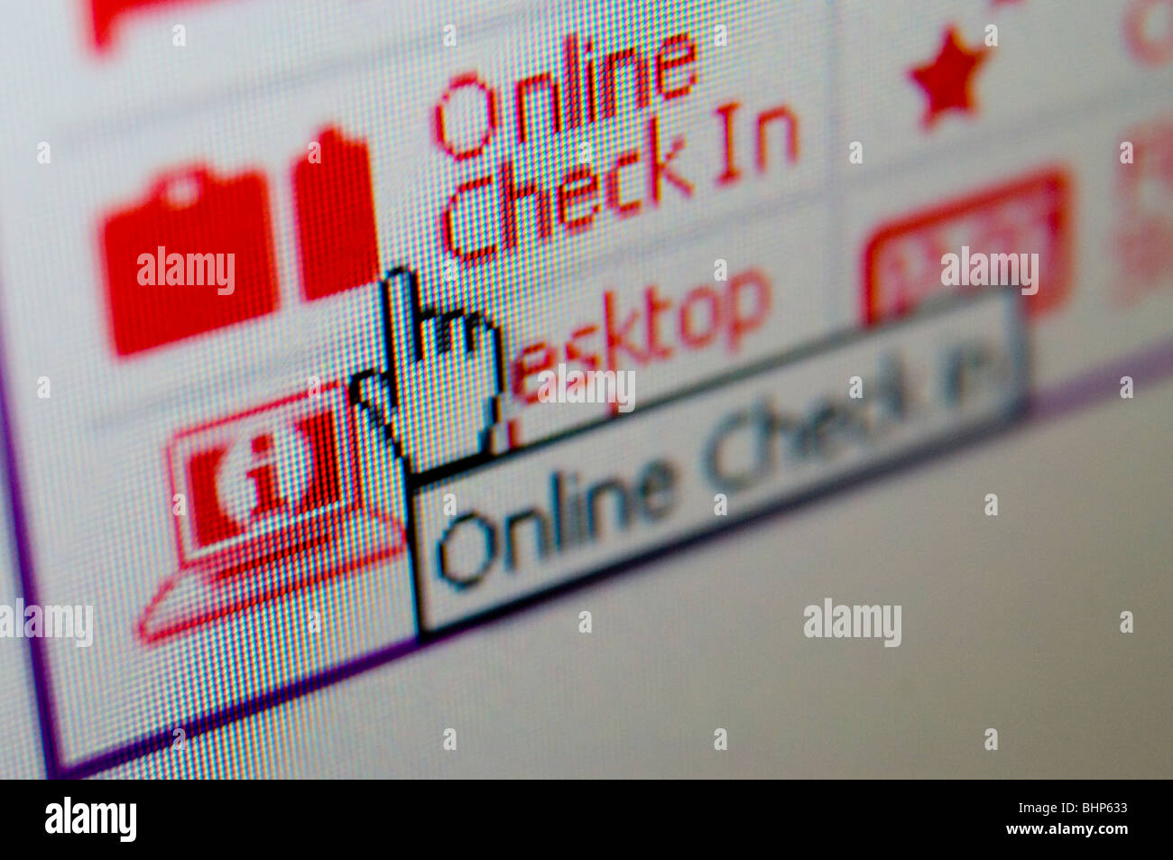 online airline check in computer screen Stock Photo: 28147255 - Alamy