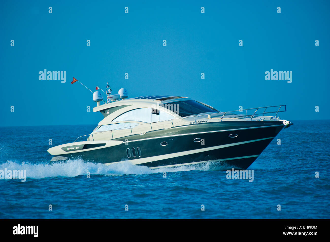 Stama 50 Power boat, yacht at Mediterranean Sea, Trapani, Sicilia, Italy Stock Photo