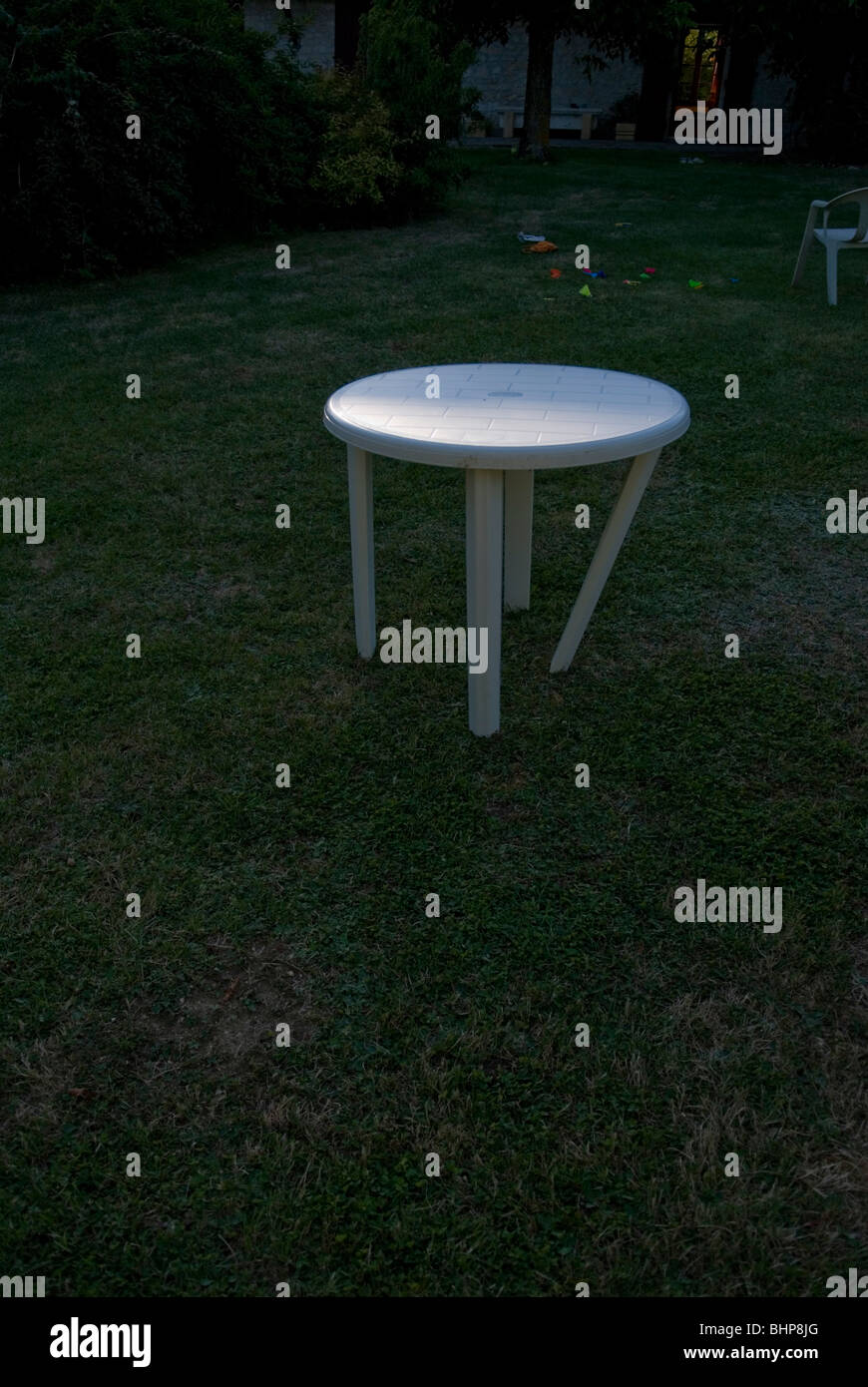 Tremendous White Plastic Garden Furniture Stock Photos White Plastic Gmtry Best Dining Table And Chair Ideas Images Gmtryco