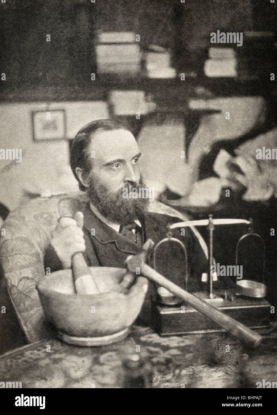 Charles Stewart Parnell, 1846 – 1891 in his laboratory. - Stock Image