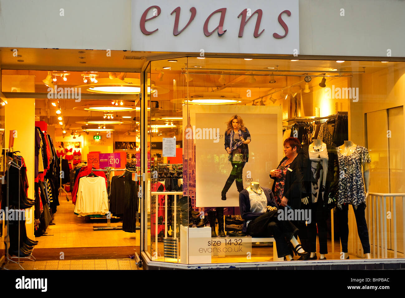 evans womens high street retail clothes shop, UK - Stock Image