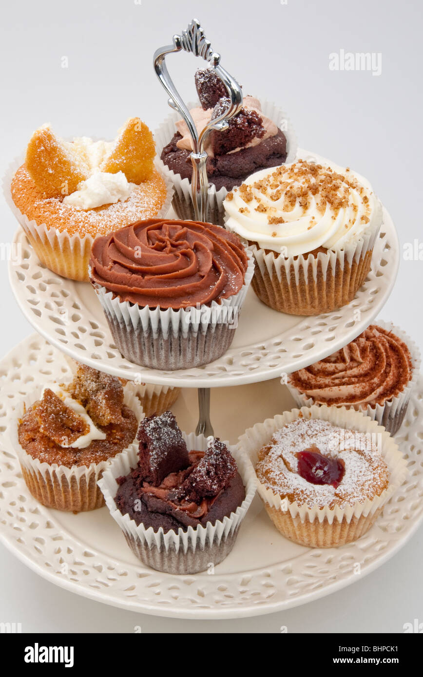 selection of cupcakes for afternoon tea - Stock Image