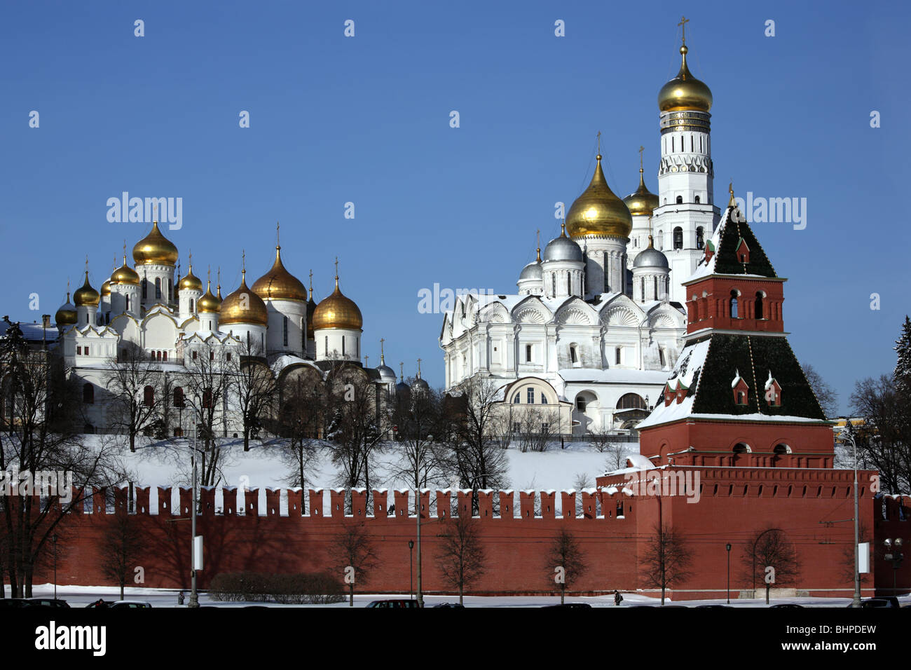 Moscow Kremlin. View on a group of Ortodoxal churches. - Stock Image