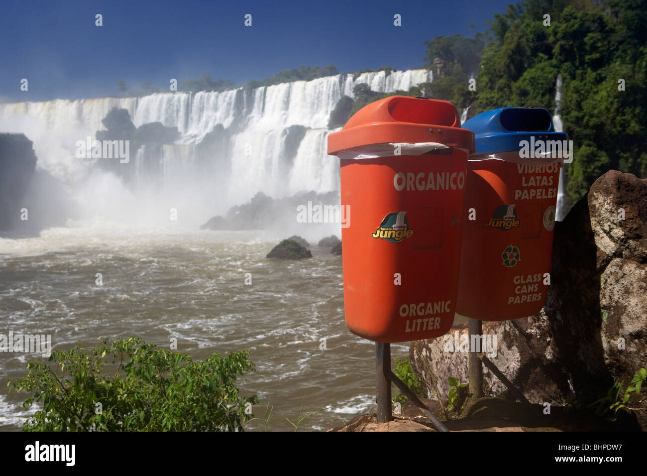 recycling bins at iguazu national park, republic of argentina, south america Stock Photo