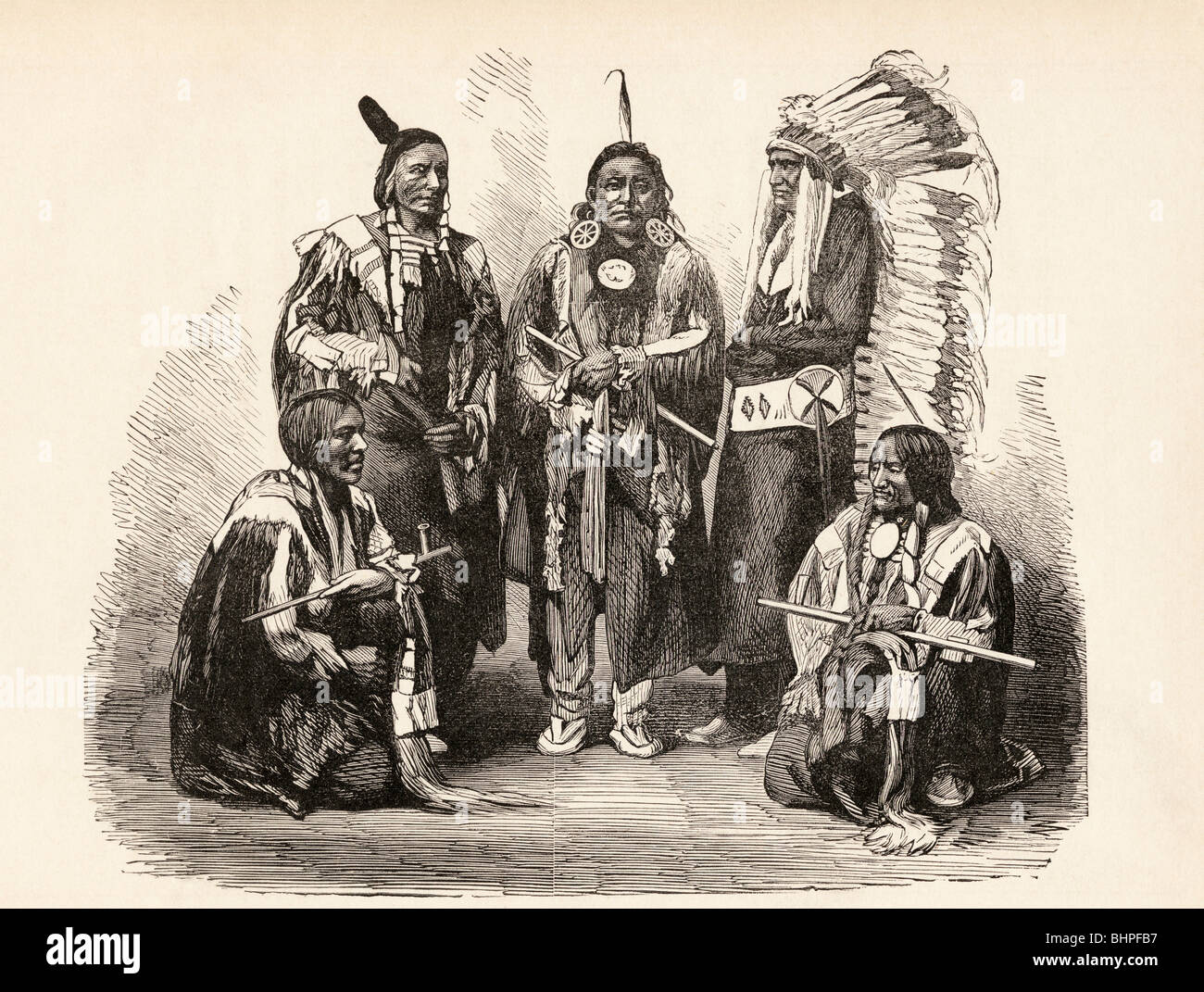A Group of Sioux Indians. - Stock Image