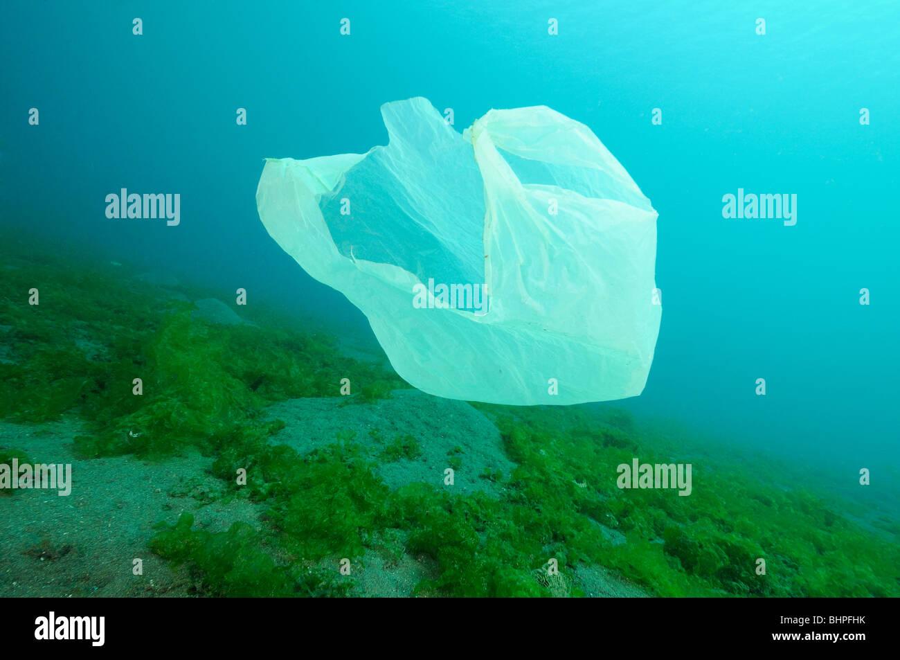 plastic waste floating under water, Secret Bay, Gilimanuk, Bali, Indonesia, Indo-Pacific Ocean - Stock Image