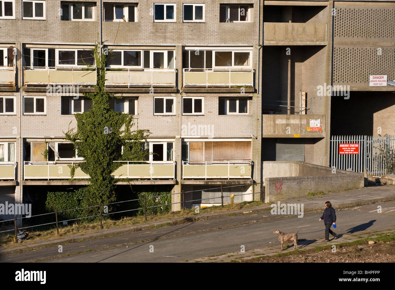 Derelict 'Billy Banks' Estate of council flats now known as the Penarth Heights Regeneration Project, Penarth, - Stock Image