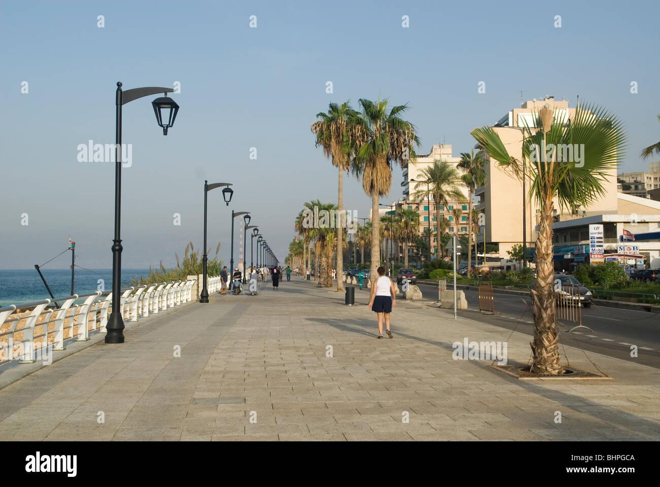 Promenade by the Mediterranean sea in Manara Beirut Lebanon Middle East Stock Photo