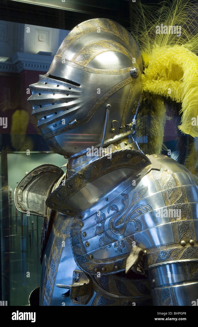 Breastplate and feathered helmet. Classic Medieval Full Suit of Armor. - Stock Image
