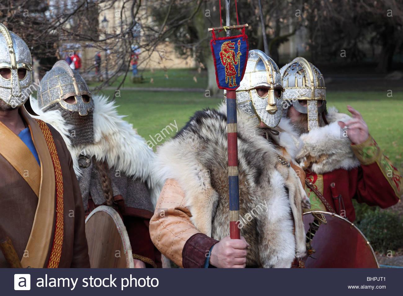 Anglo Saxon warriors . Jorvik Viking Festival 2010 York North Yorkshire England Stock Photo