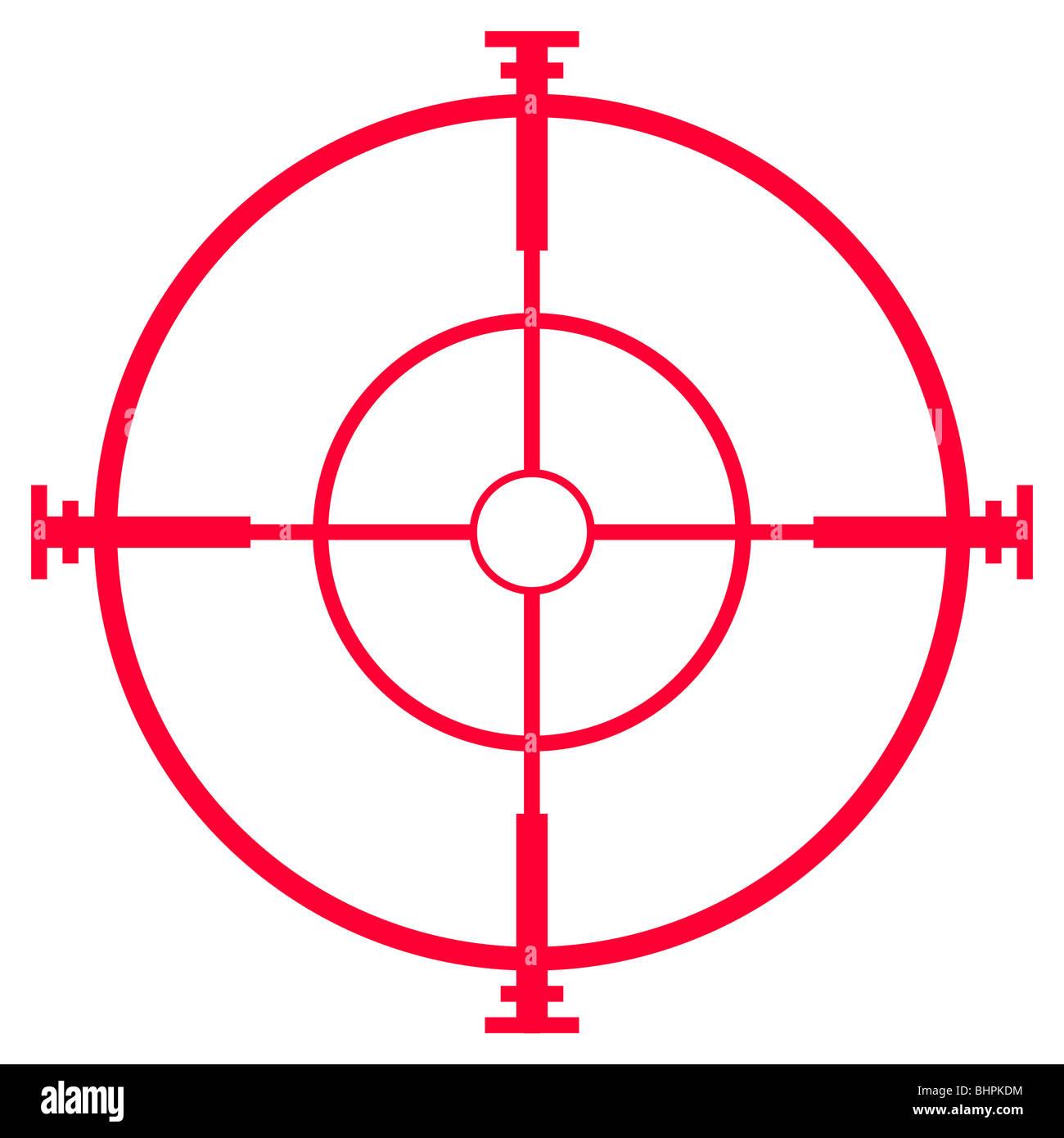Illustration of sniper rifle sight or scope, isolated on white background. - Stock Image