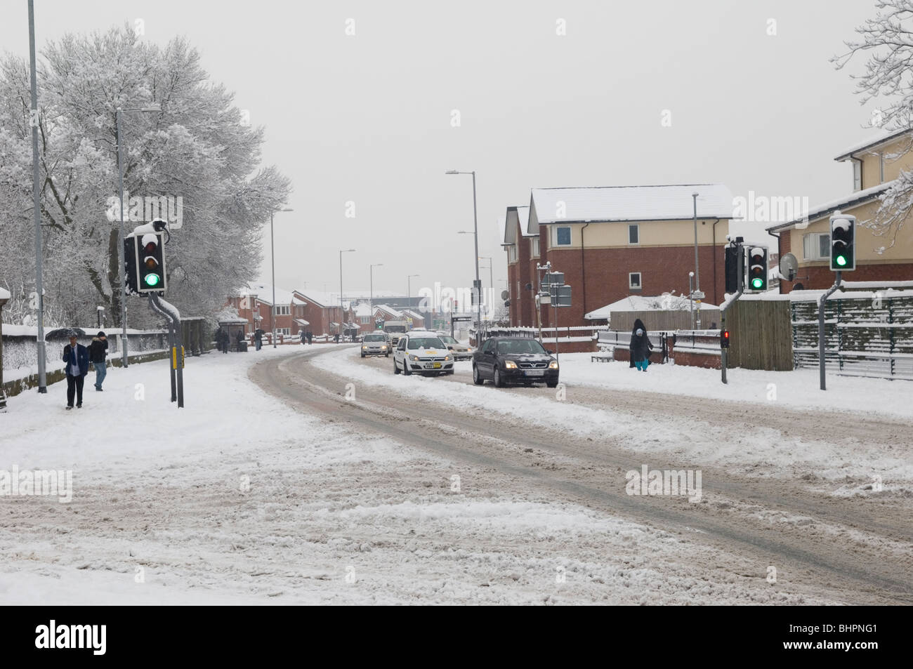 cheetham hill road manchester uk covered with snow on a. Black Bedroom Furniture Sets. Home Design Ideas