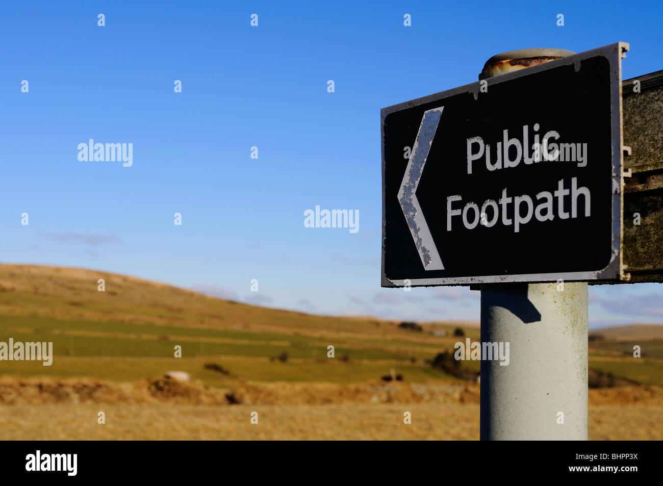a public footpath sign on dartmoor in devon, uk - Stock Image