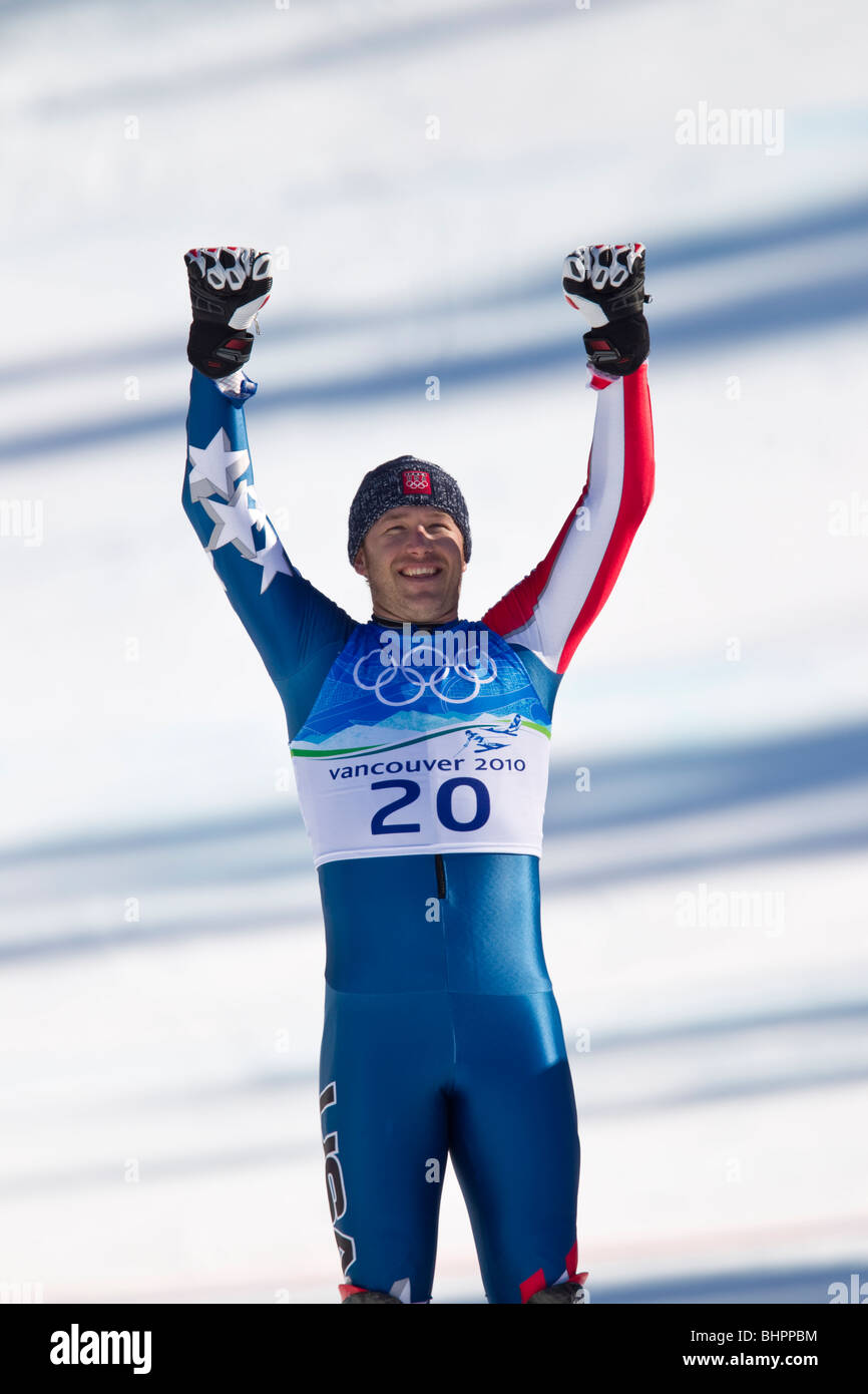Bode Miller (USA), gold medal winner in the Alpine Skiing Men's Super Combined event at the 2010 Olympic Winter - Stock Image