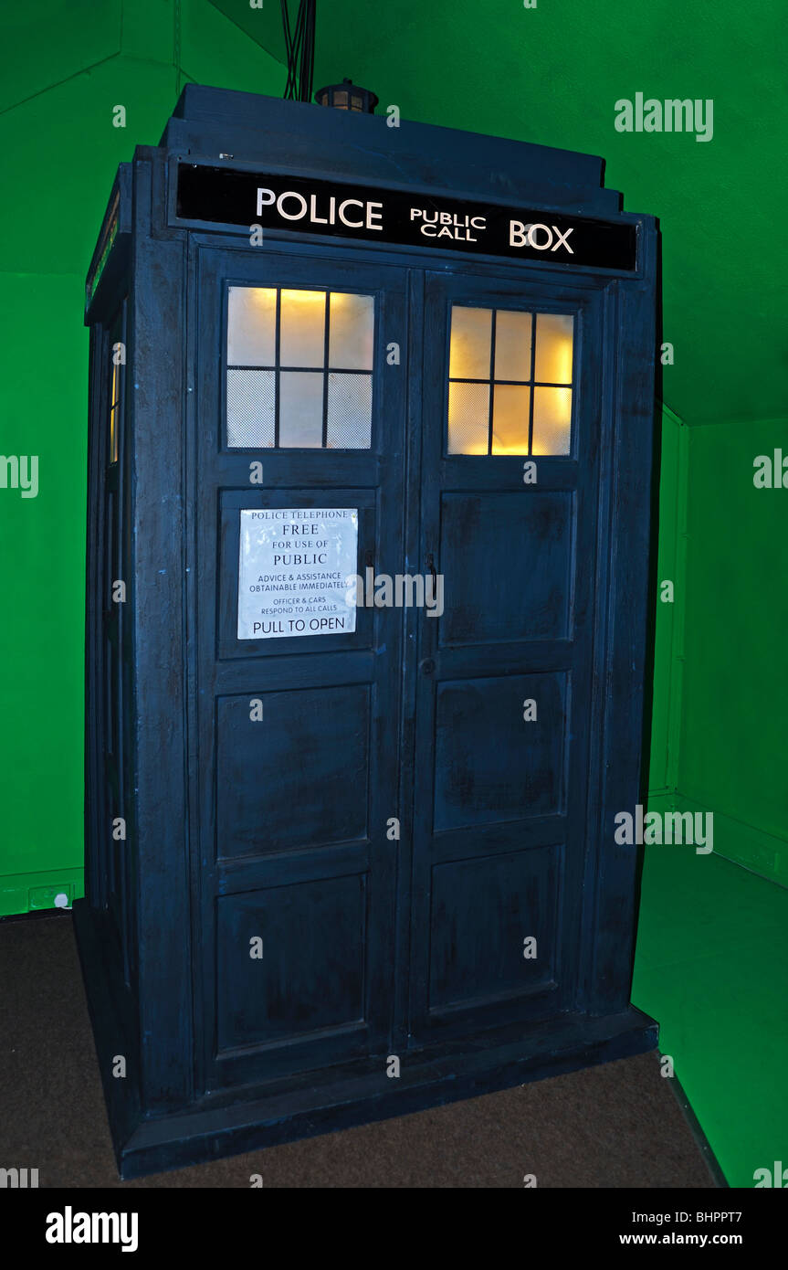 the ' tardis ' in a Dr.Who exhibition at Lands End in cornwall, uk - Stock Image