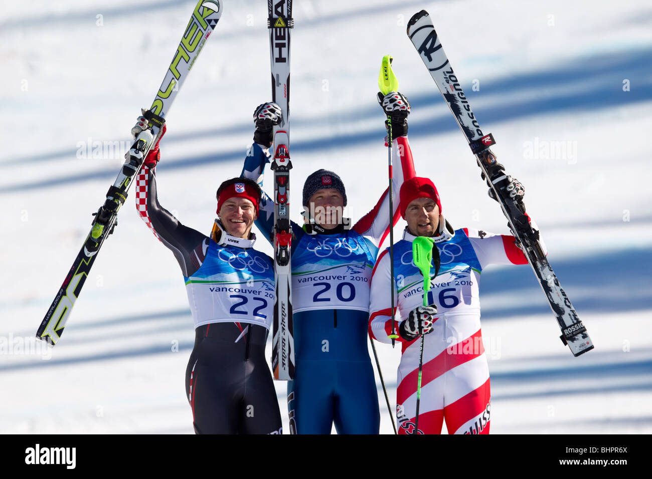 Bode Miller (USA), gold medal winner, Ivica Kostelic (CRO) silver, Silvan Zurbriggen (SUI) bronze, in the Men's - Stock Image