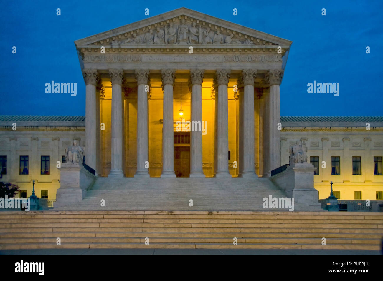 Night view of the U.S. Supreme Court building. It is the seat of the Supreme Court of the United States - Stock Image