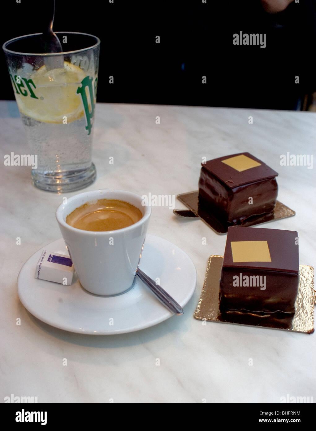 Paris, France, Close up Food, Luxury, Chocolate Cakes and Espresso Coffee , Pierre Hermé, - Stock Image