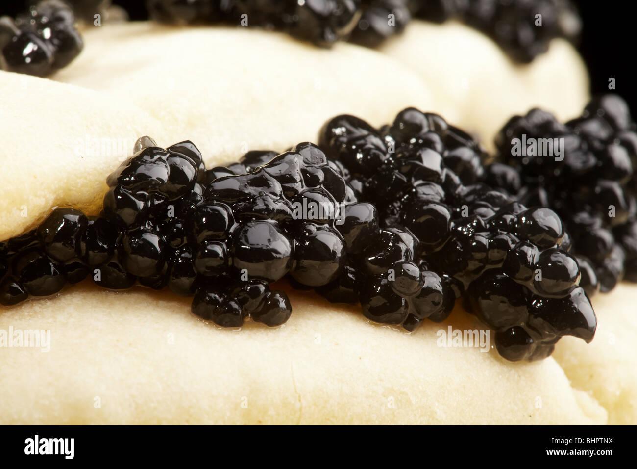 Caviar black with pancakes, a pancake week - Stock Image