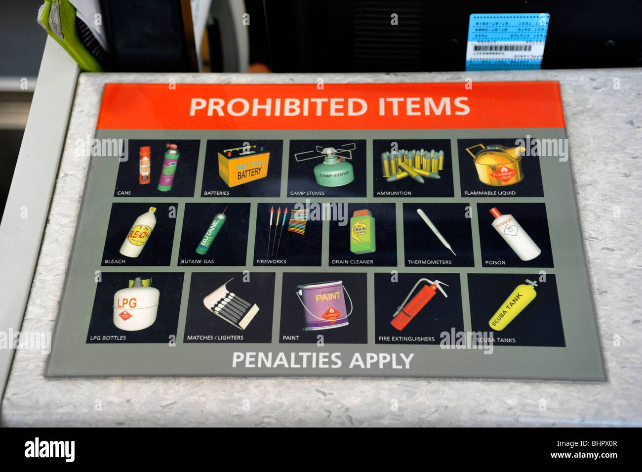 Prohibited Items at an airline check in....Australia - Stock Image
