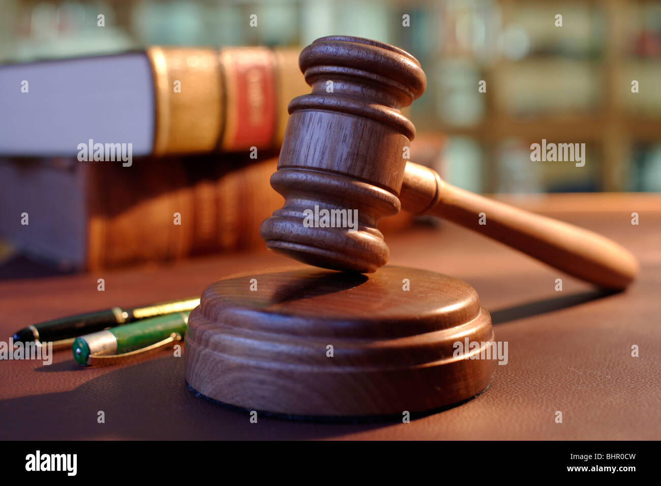 gavel in the court room - Stock Image
