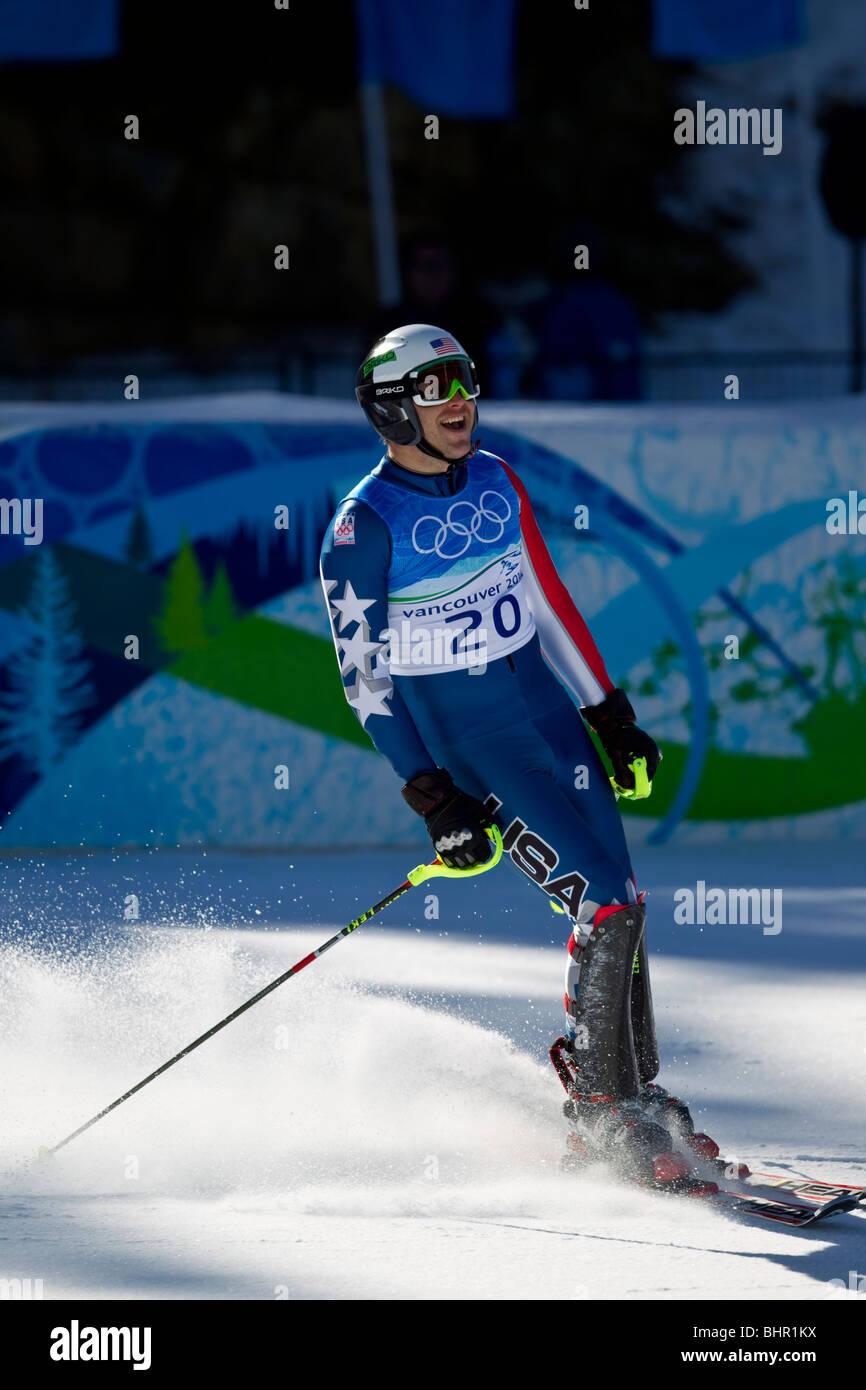 Bode Miller ( USA) gold medal winner, finishing the slalom portion of the Alpine Skiing Men's Super Combined - Stock Image