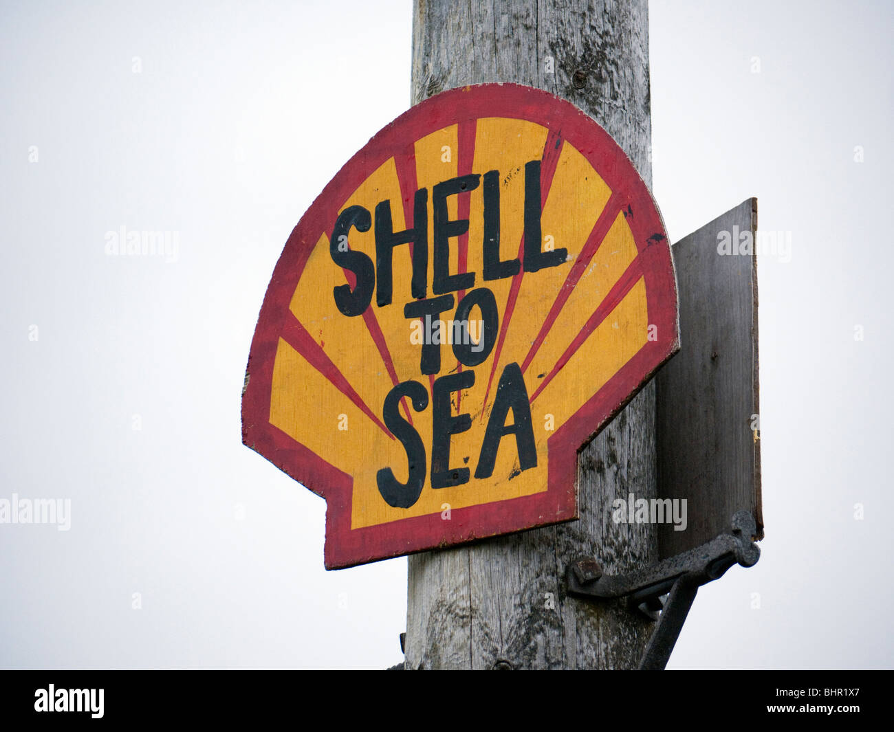 Protest sign erected by campaign groups who oppose the Corrib Natural Gas project by Royal Dutch Shell in County - Stock Image
