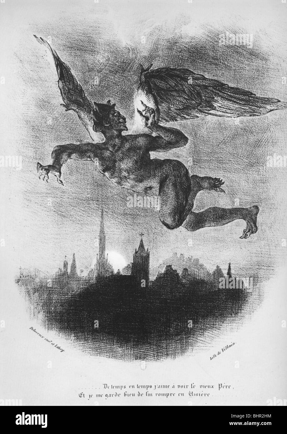 Eugène Delacroix  Méphistophélès dans les airs (Faust de Goethe) - Mephistopheles in the air - Stock Image