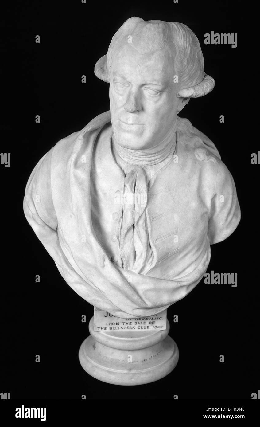 Bust of John Wilkes, 18th century English journalist and politician, c1761. Artist: Louis Francois Roubiliac - Stock Image