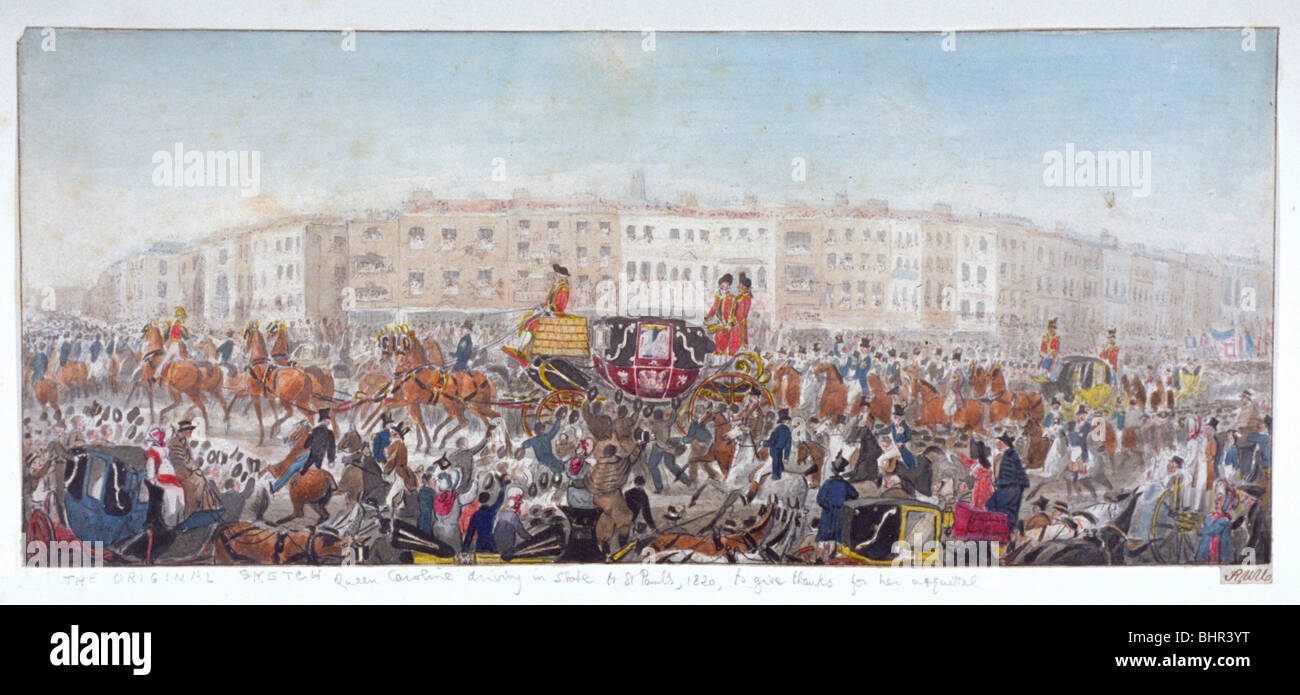 Queen Caroline travelling to St Paul's Cathedral, London, 20th November 1820 (1821). Artist: RWU - Stock Image