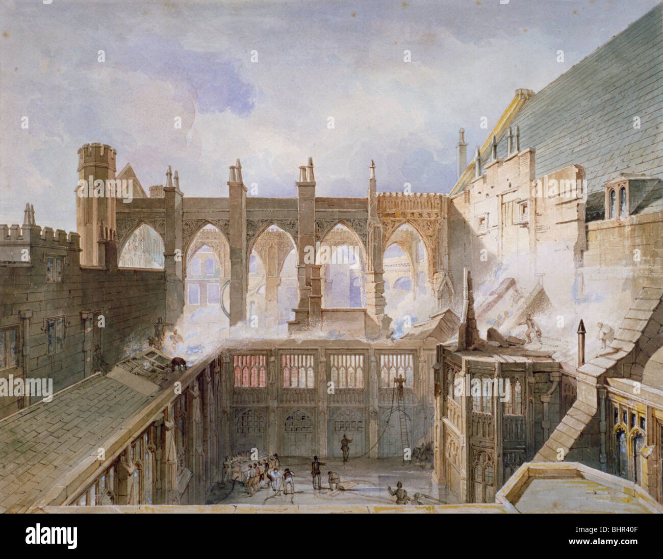 View of the destruction of St Stephen's Chapel, Palace of Westminster, London, 1834 Artist: John Taylor - Stock Image
