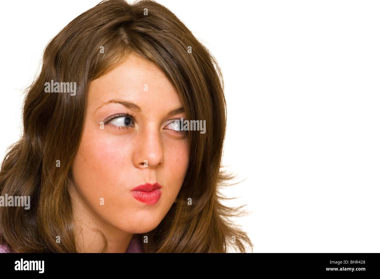 Portrait of a suspicious blond woman - Stock Image