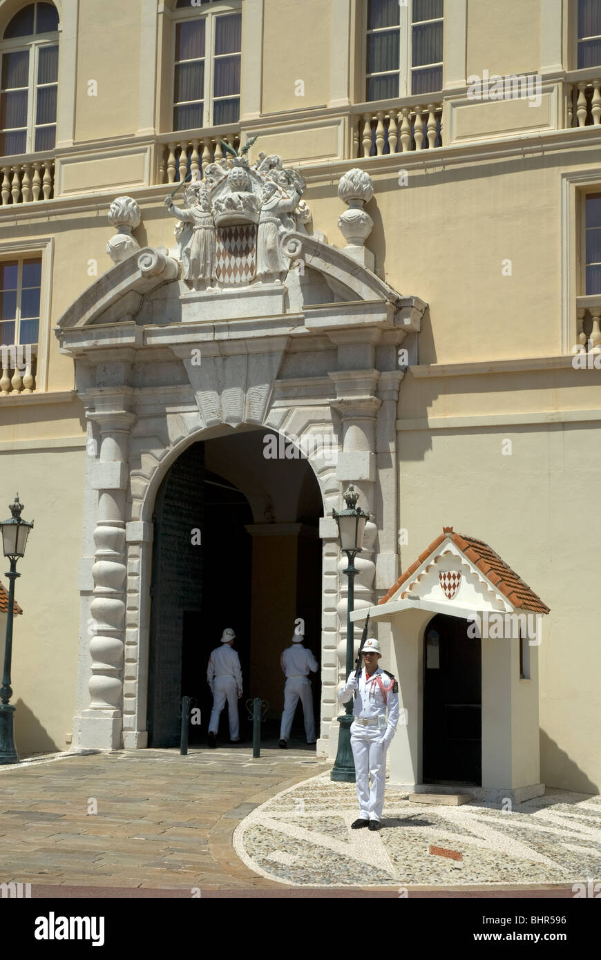 Palace guards at the entrance of the Prince's Palace of Monaco, Monte Carlo - Stock Image