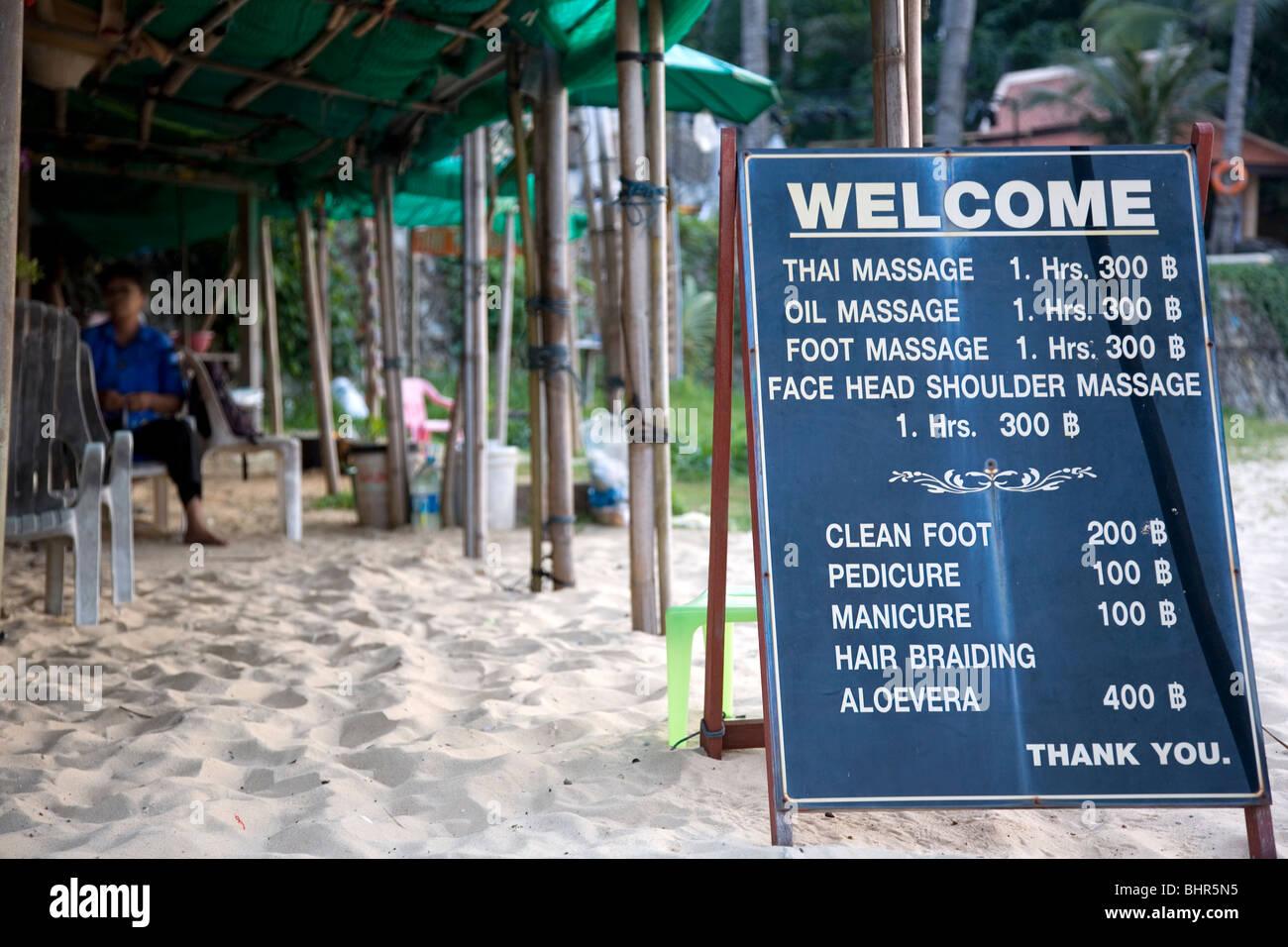 Thai Massage prices on Karon Beach - Stock Image