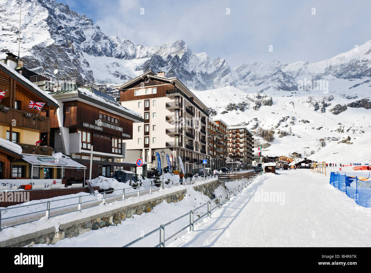 hotels at the bottom of the slopes in the centre of the resort stock