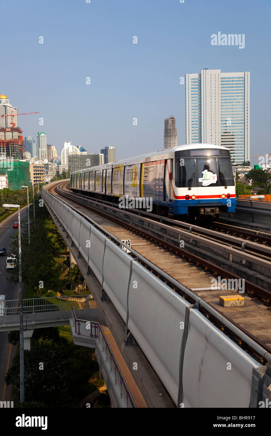 Bangkok Sky Train,  Mass Transit System, an overhead railway system, commonly known as the BTS Skytrain, Thailand. - Stock Image