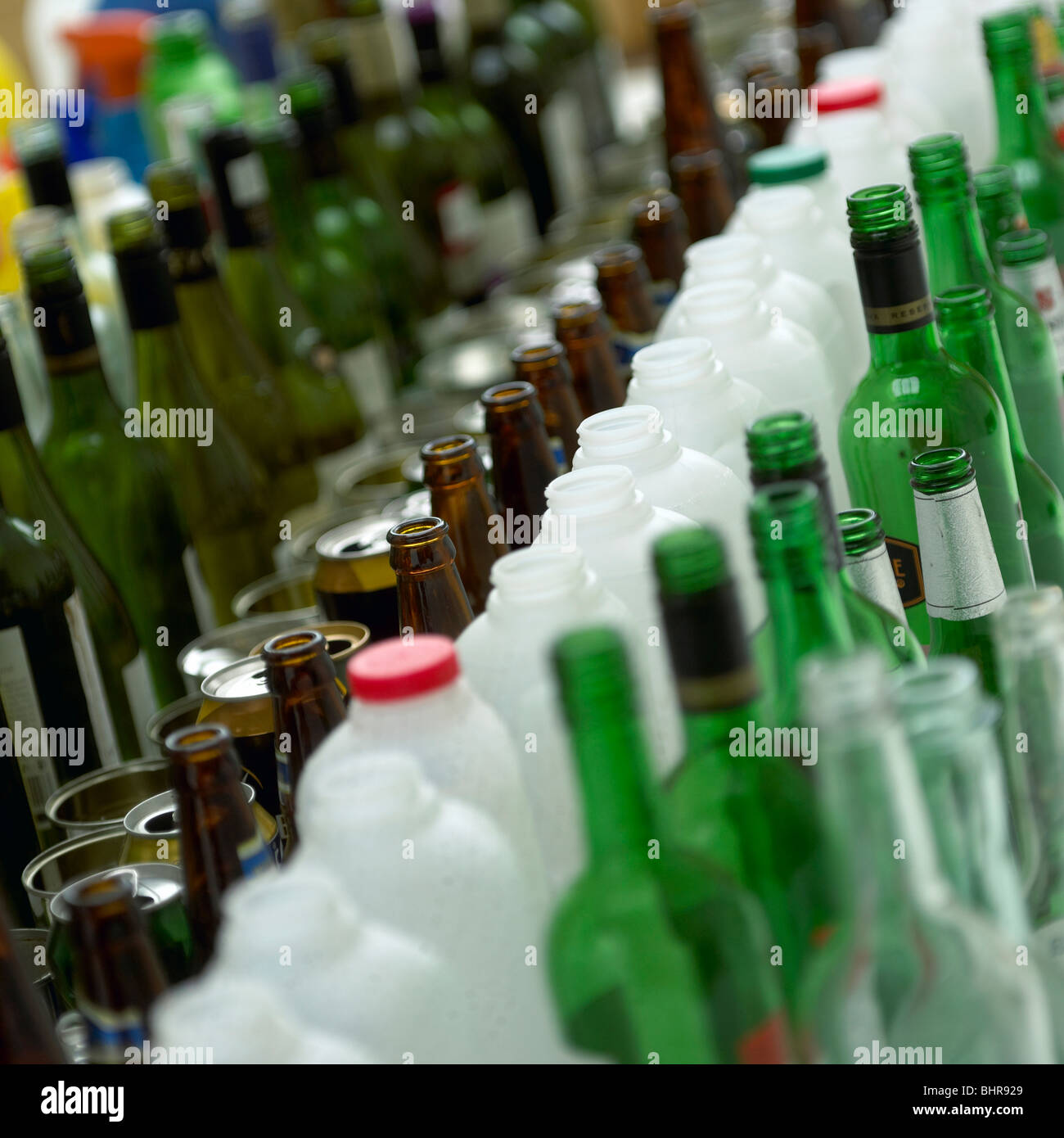 Bottles cans and tins lined up - Stock Image