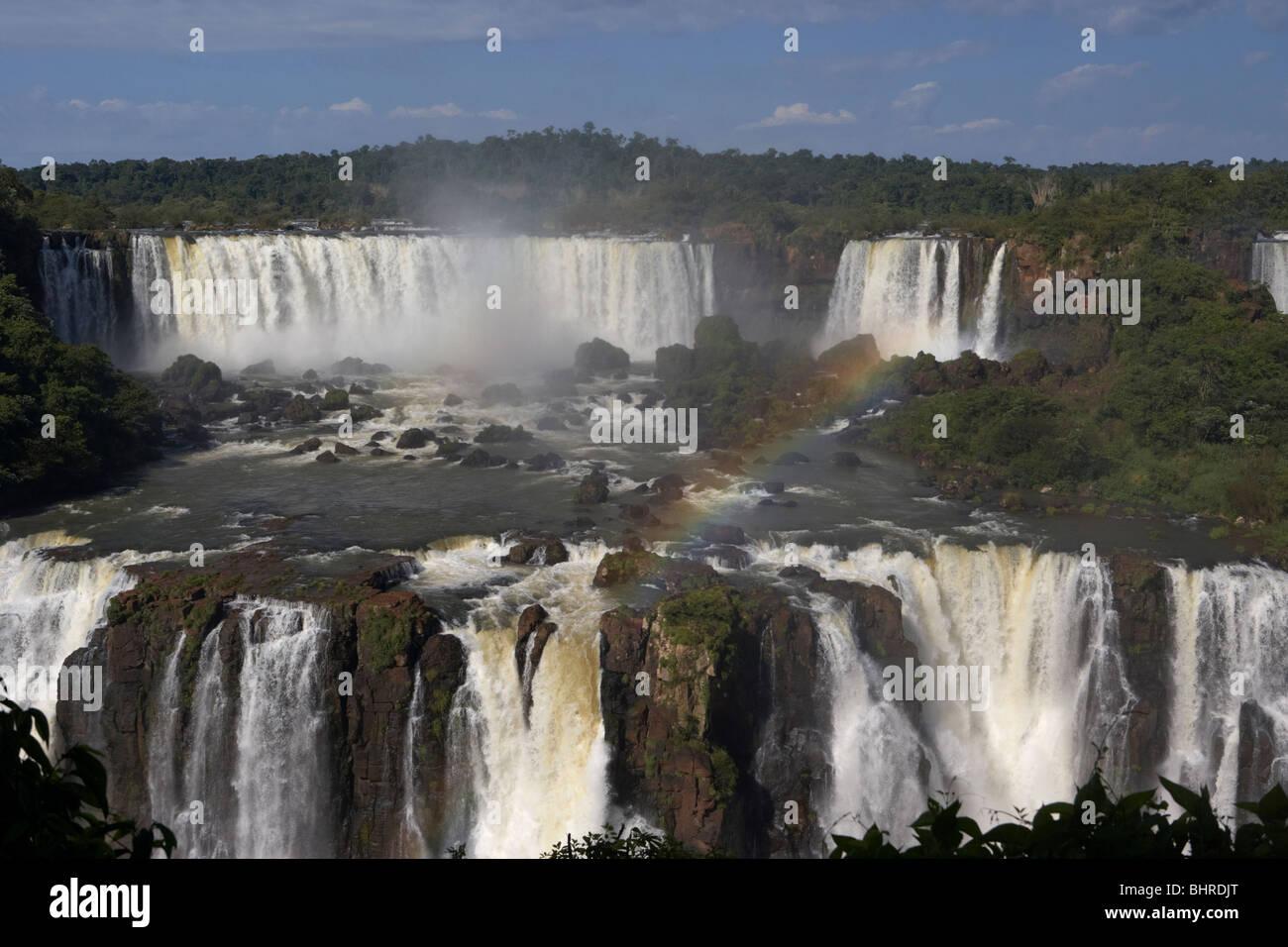 Iguazu falls and san martin island seen from the brazilian side of iguacu national park, parana, brazil, south america - Stock Image