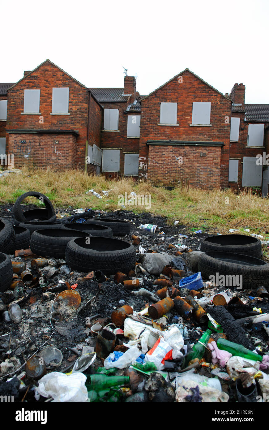 Pleasley Mansfield Nottinghamshire England.Run Down Council Estate. - Stock Image