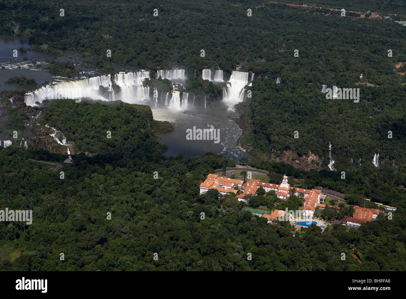 aerial view of iguazu falls and the hotel das cataratas brazilian side of iguacu national park, parana, brazil, Stock Photo