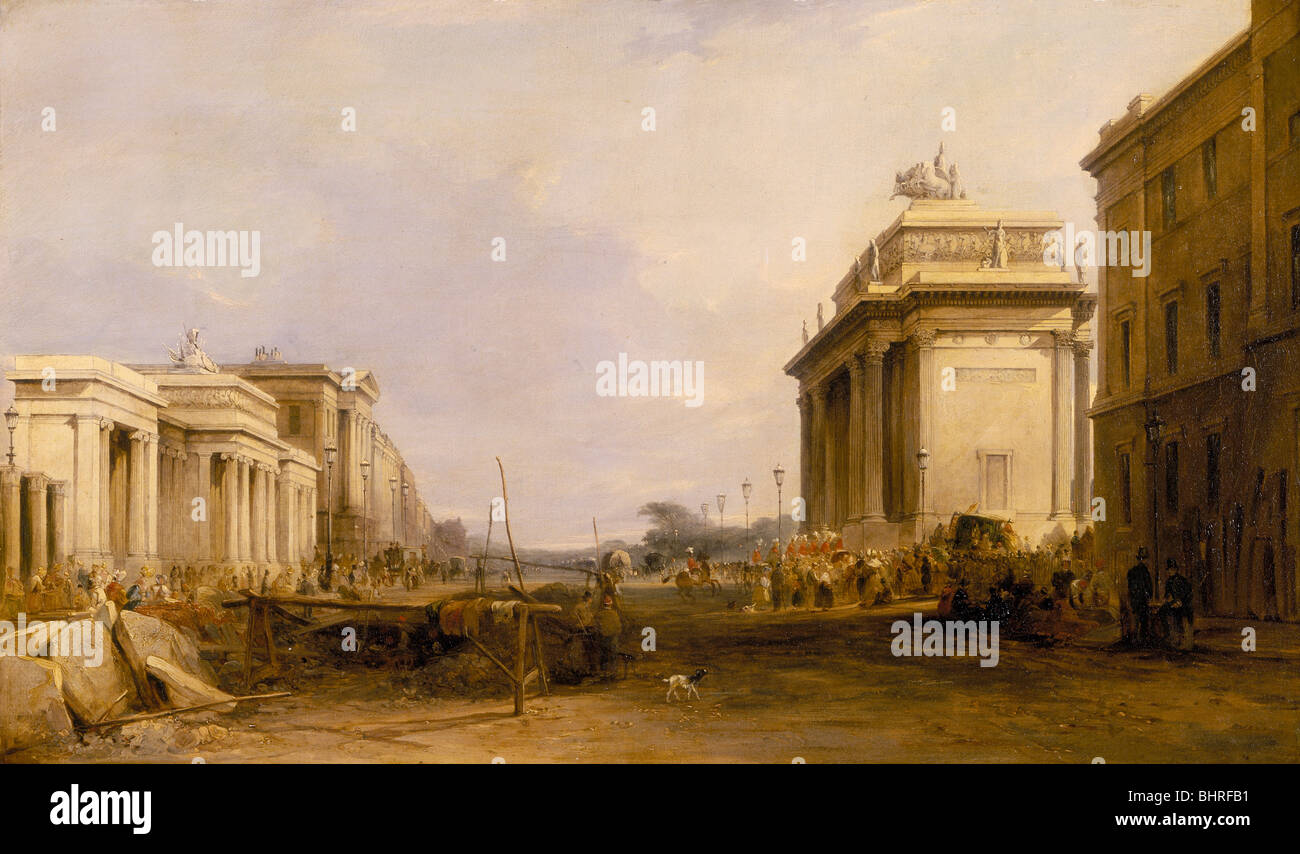 'Hyde Park Corner and Constitution Arch', c1833. Artist: James Holland - Stock Image