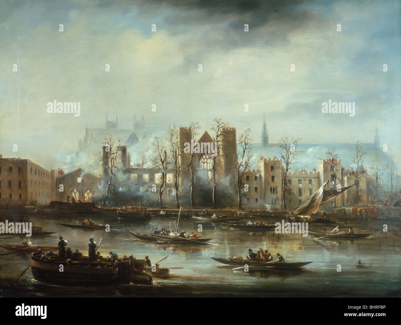 'The Palace of Westminster from the River after the Fire of 1834', c1834. - Stock Image