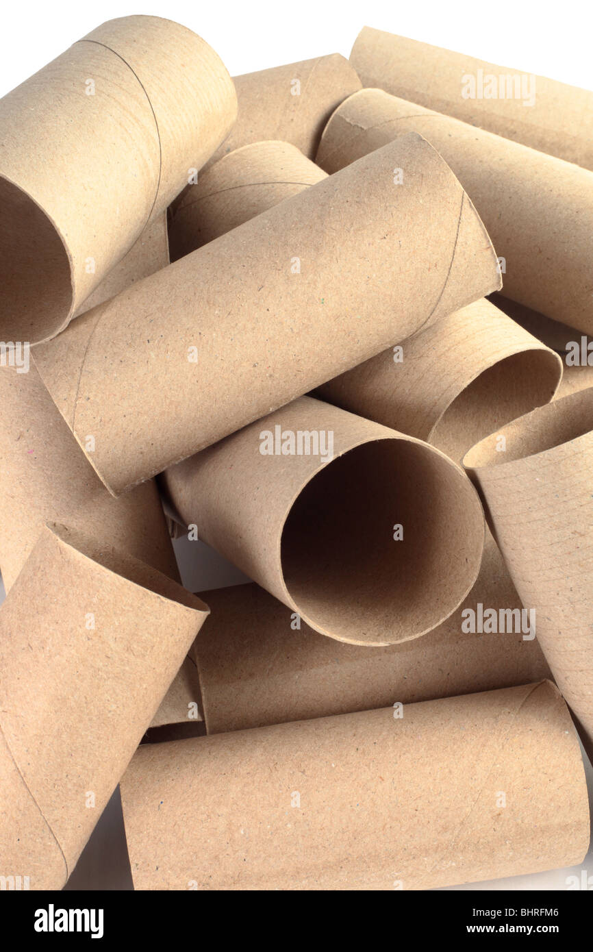 Cardboard tubes ready for recycling. - Stock Image