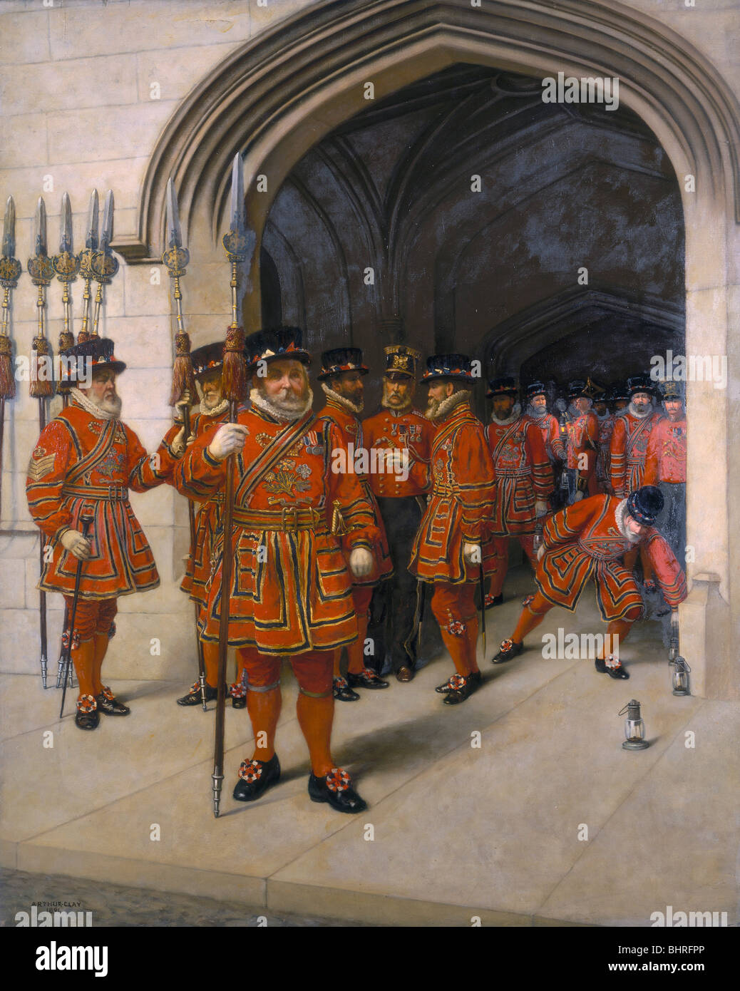 'The Yeomen of the Guard searching the crypt of the Houses of Parliament', 1894. Artist: Sir Arthur Temple - Stock Image
