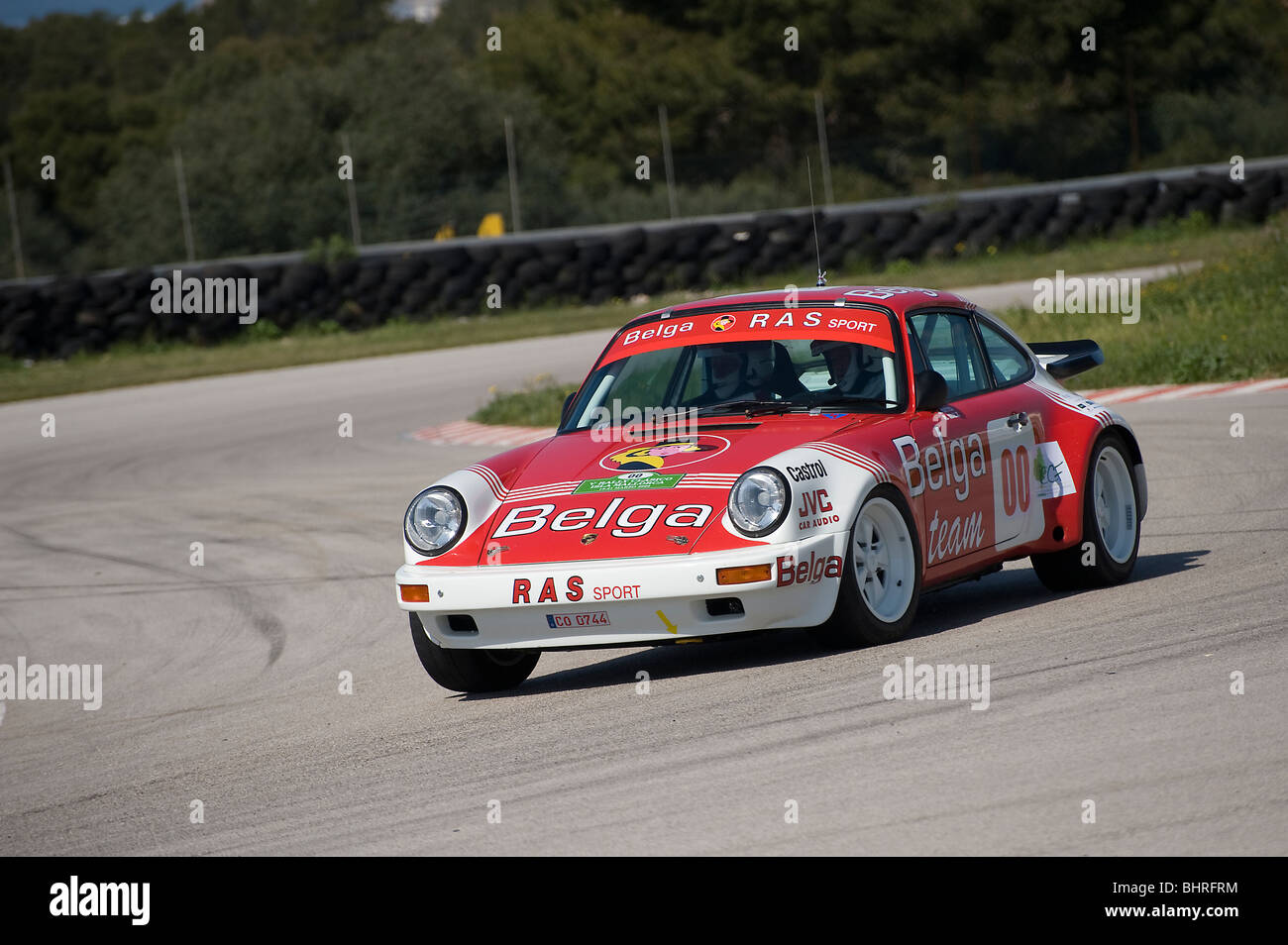 Porsche SC/RS Belga 1984 racing in a classic car rally in Spain - Stock Image