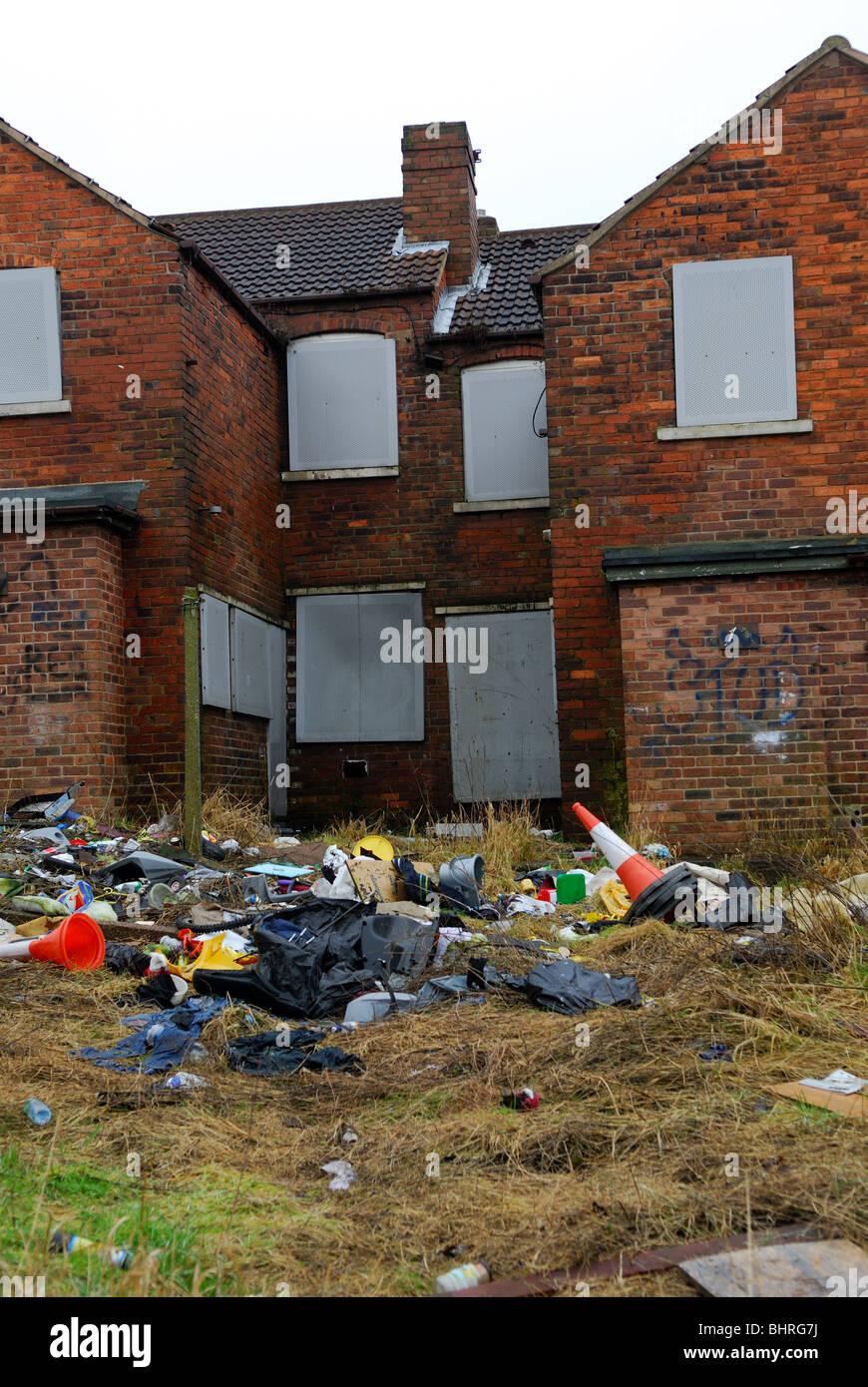Pleasley Mansfield Nottinghamshire England.Run Down Council Estate. Stock Photo