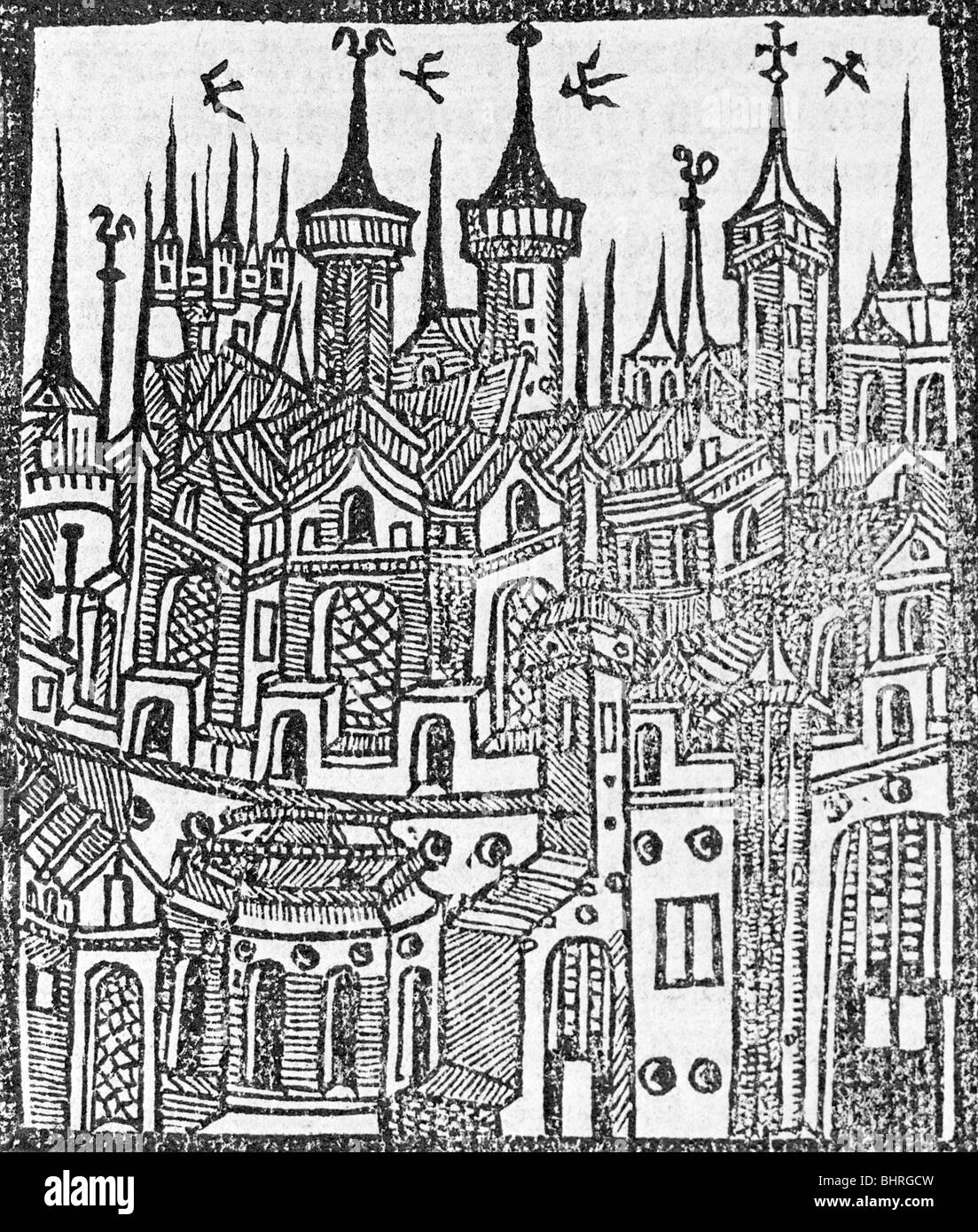 Woodcut from The Chronicle of Englonde, 1497. Artist: Wynkyn de Worde - Stock Image