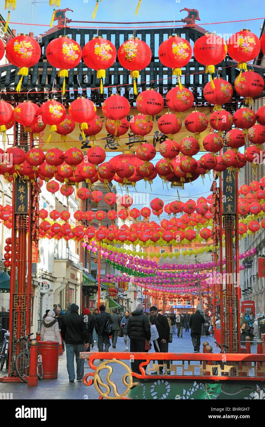 China Town,Gerrard Street,London - Stock Image